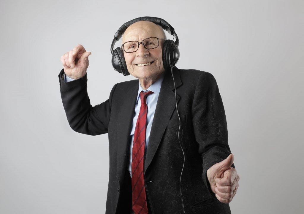 dancing pensioner, happy